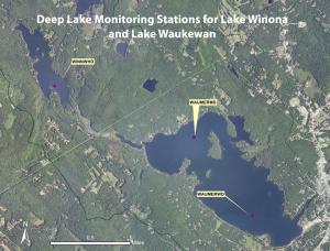 Deep lake sampling stations on Lake Winona and Lake Waukewan